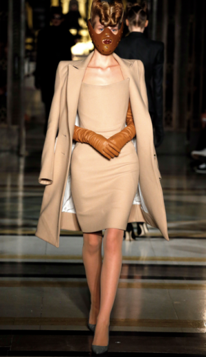 Gareth Pugh - A-Line beige skirt and peacoat
