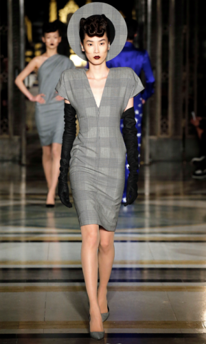 Gareth Pugh - V neck checker dress with over the elbow gloves