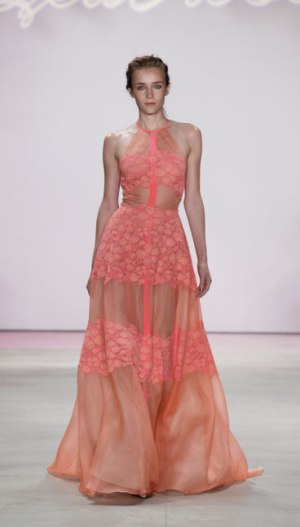 Lela Rose in a sheer banded Rose blocked gown