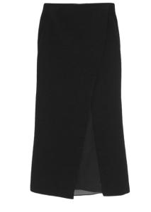 This Donna Karen organza paneled slub skirt